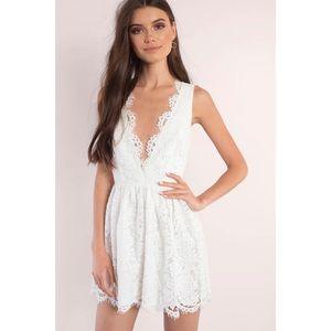 TOBI White Lace Plunge Dress